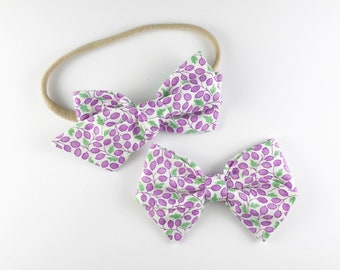Purple Grapes - Baby, Toddler, Girls Fabric Bow Headband or Hair Clip, Nylon Baby Headband, Bow Hair Clip, Bow Hair Clip