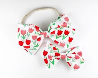 Tulip Field - Baby, Toddler, Girls Fabric Bow Headband or Clip, Tulip Headband, Spring Bow, Nylon Bow Headband, Bow Hair Clip