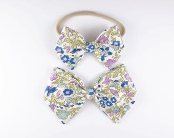 Lilac Mamie - Baby, Toddler, Girls Fabric Bow Headband or Hair Clip, Liberty of London, Nylon Bow Headband, Bow Hair Clip