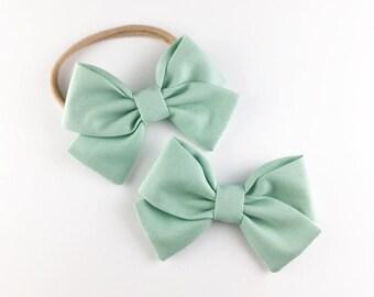 Robins Egg Blue Bow - Baby, Toddler, Girls Fabric Bow Headband or Hair Clip, Nylon Bow Headband, Bow Hair Clip, Spring Bow