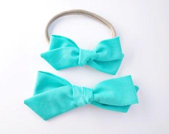 Lagoon Blue Hand-tied - Baby, Toddler, Girls Fabric Bow Headband or Hair Clip, Nylon Baby Headband, Bow Hair Clip