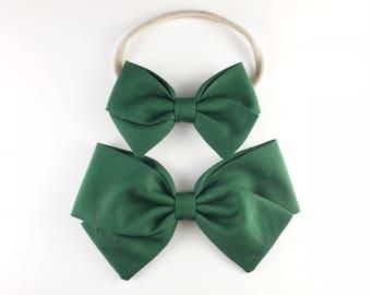 Evergreen Bow - Baby, Toddler, Girls Fabric Bow Headband or Hair Clip, Dark Green, Nylon Bow Headband, Bow Hair Clip
