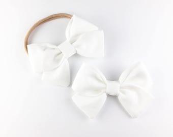 Classic White Bow - Baby, Toddler, Girls Fabric Bow Headband or Hair Clip, Nylon Bow Headband, Bow Hair Clip, Blessing Bow