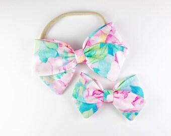 Pink Peony - Baby, Toddler, Girls Fabric Bow Headband or Clip, Watercolor Headband, Spring Bow, Nylon Bow Headband, Bow Hair Clip