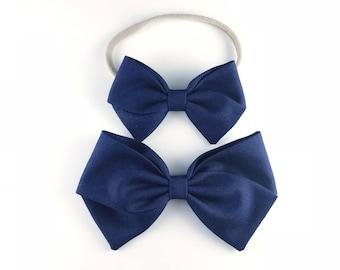 Navy Blue Bow - Baby, Toddler, Girls Fabric Bow Headband or Hair Clip, Nylon Baby Headband, Bow Hair Clip, Solid Navy Blue, Dark Blue Bow