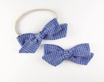 Striped Chambray Hand-tied Bow - Baby, Toddler, Girls Fabric Bow Headband or Clip, Chambray Bow, Nylon Bow Headband, Bow Hair Clip