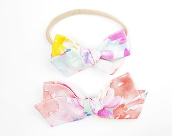 Watercolor Floral Hand-tied - Baby, Toddler, Girls Fabric Bow Headband or Hair Clip, Nylon Baby Headband, Bow Hair Clip, Abstract Bow, Bow H
