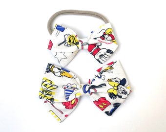 Mickey and Friends - Baby, Toddler, Girls Fabric Bow Headband or Hair Clip, Nylon Baby Headband, Bow Hair Clip