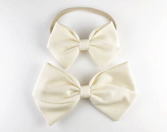 Classic Ivory Bow - Baby, Toddler, Girls Fabric Bow Headband or Hair Clip, Nylon Bow Headband, Bow Hair Clip, Blessing Bow