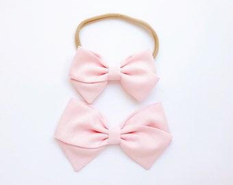 Ballet Pink Bow - Baby, Toddler, Girls Fabric Bow Headband or Hair Clip, Spring Bow, Bow Hair Clip, Nylon Baby Headband, Classic Bow Clip