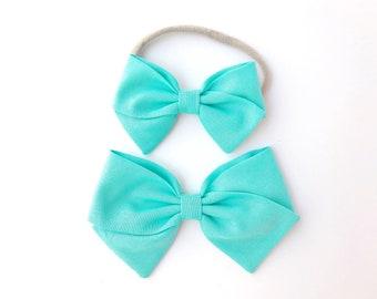 Lagoon Blue Bow - Baby, Toddler, Girls Fabric Bow Headband or Hair Clip, Nylon Baby Headband, Bow Hair Clip