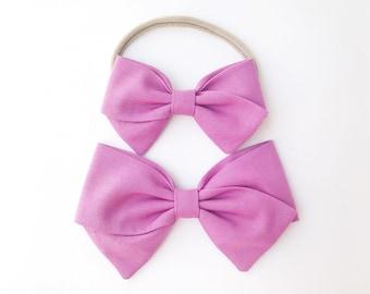 Orchid Purple Bow - Baby, Toddler, Girls Fabric Bow Headband or Hair Clip, Nylon Baby Headband, Bow Hair Clip