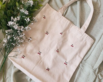 Cherries embroidered tote bag