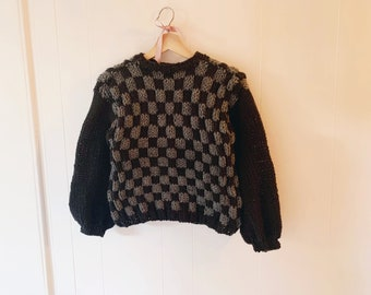 Hand knitted Checkered Chunky Sweater