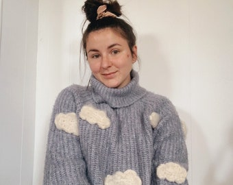 Hand knitted and Upcycled Chunky Cloud Sweater