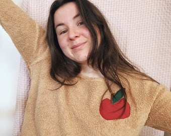 Apple patchwork/ Thrifted teddy sweater