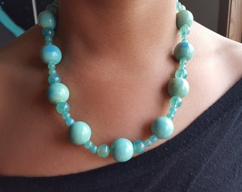 Oceanside-stone necklace and earring set