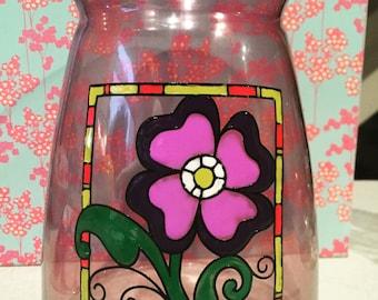 coloured vase floral design