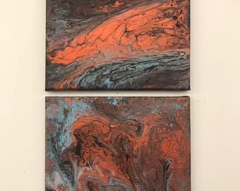 Aged Waterfall; diptych set of 12x12 acrylic pour painting on stretched canvas, ready to hang, original painting in red bronze, blue, black