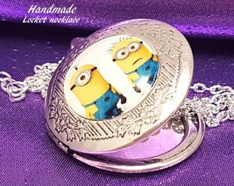 Handmade Locket with Minions cabochon