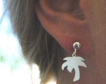 Stud earrings with palm tree charm in 925 sterling silver, palm tree earrings