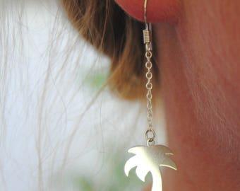 Palm tree earrings in 925 sterling silver, palm tree jewelry