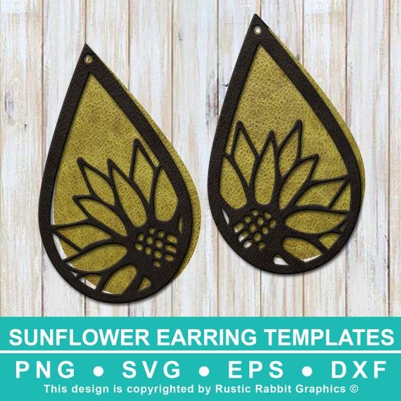 4 Sun Flower Earring Templates W 1 Free Teardrop Design Etsy