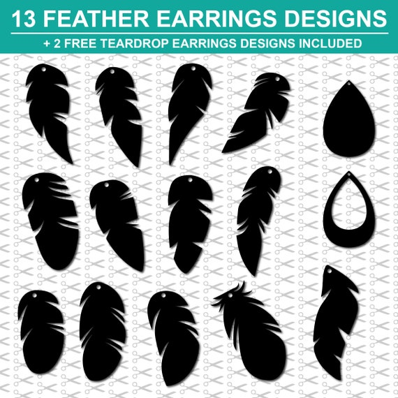 13 Feather Earring Designs 2 Free Teardrop Designs Included Etsy