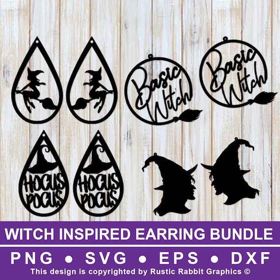 4 Witch Themed Earring Templates W 1 Teardrop Free Design Etsy