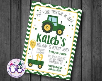 Tractors Birthday Invitation John Deere Boy