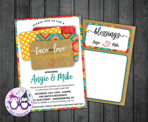 Taco Bout Love Gift Card Couples Shower Invitation Gift Card Shower Invitation Bridal Shower Invitation Taco Bout Love Invitation