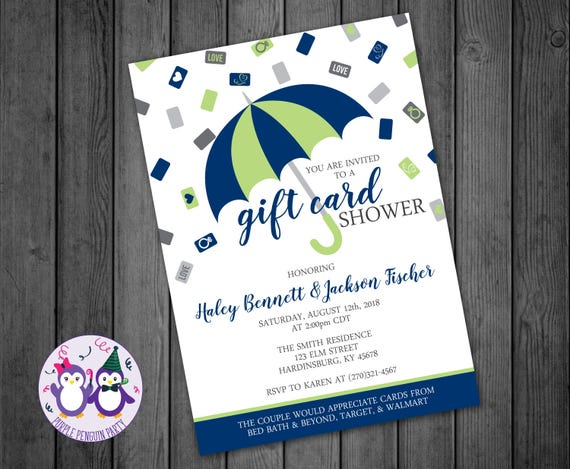 Gift Card Wedding Shower: Umbrella Gift Card Couples Shower Invitation Bridal Shower