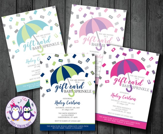 Umbrella Gift Card Baby Sprinkle Invitation Baby Shower Invitation Bridal Shower Invitation Wedding Shower Invitation