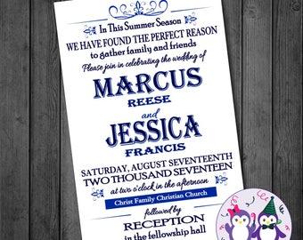 Blue Summer Modern Wedding Invitation
