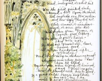 "C  S  Lewis (Narnia Author) poem ""On a Vulgar Error"" gothic cathedral hand-lettered watercolor print classic Inklings"