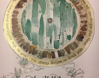 "Hobbit Door One Ring Lord of the Rings fan art watercolor hobbit hole 8.5""x11"" wall art art print hand embellished LOTR"