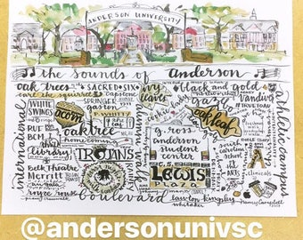 "Anderson University watercolor handlettering 81/2""x11"" Merritt Boulevard arches thrift library troy Trojan milk and cookies Whitaker"