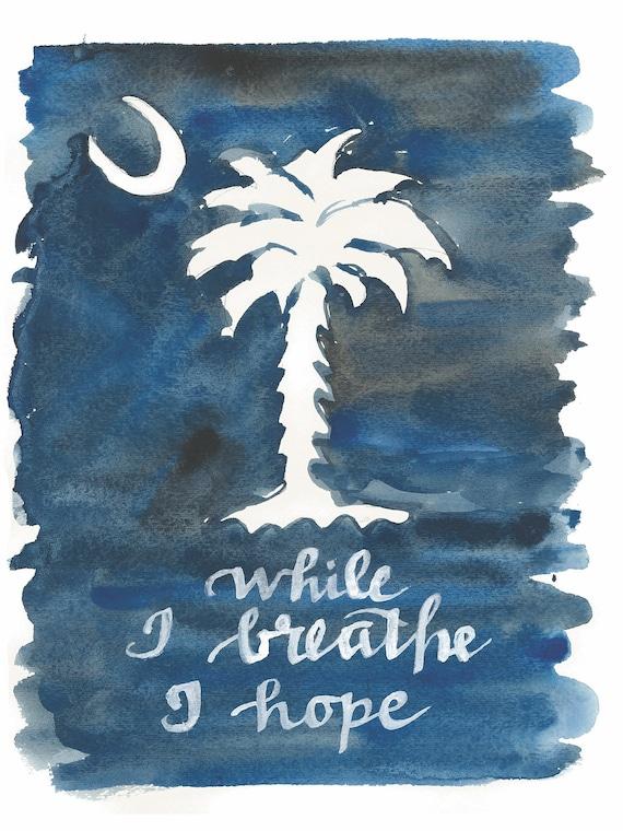 South Carolina Sc Print Of Handlettered Watercolor Original Etsy