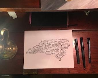 "North Carolina wall art hand-lettered print Biltmore Charlotte Tar Heel Raleigh Kitty Hawk barbecue 8.5"" x 11"""