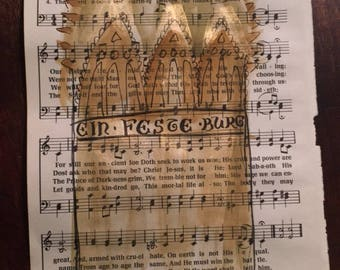 "A Mighty Fortress hymn hand-lettered watercolor gold ink wall art Reformation Martin Luther  October 31 Halloween sheet music 8.5""x11"""