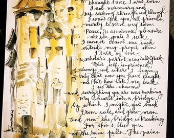 As the Ruin Falls C S Lewis poem Print of Handlettered Watercolor Inklings Author of Narnia