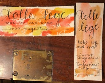 Tolle Lege Take up and Read Saint Augustine Confessions Set of 2 bookmarks handpainted watercolor original hand-lettered one of a kind