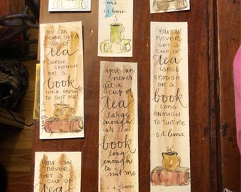 "CS Lewis bookmark ""You can never get a cup of tea large enough or a book long enough to suit me."" Handpainted hand-lettered watercolor"