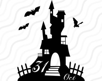 Haunted House SVG Halloween Clipart Cut Table Designsvgdxfpng Use With Silhouette Studio Cricut Instant Download