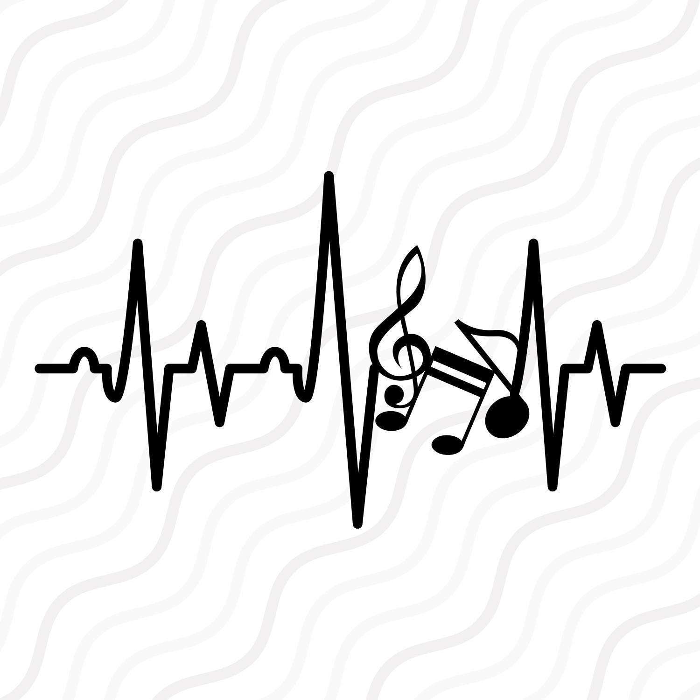 Music Note Heartbeat Svg Music Note Svg Heartbeat Svg Cut Etsy