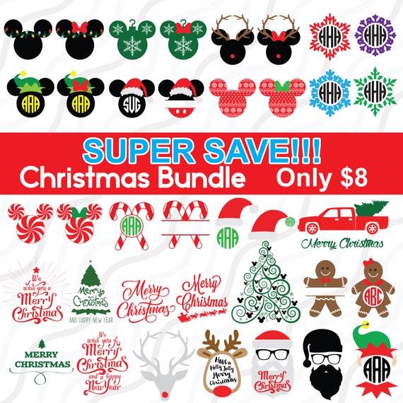 Christmas Monogram Bundle Svg Disney Christmas Svg Cut Table Etsy