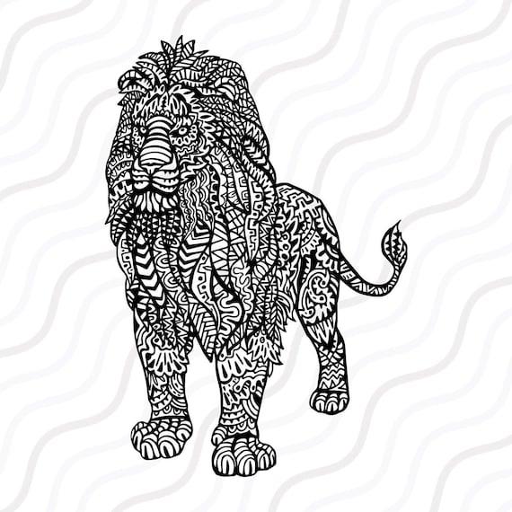 Ethnic Lion Svg Zentangle Lion Svg Lion Svg Cut Table Etsy