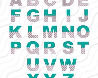 Mermaid Alphabet SVG, Mermaid SVG, Mermaid Birthday svg, SVG Fonts, Cricut Fonts Cut table Design,svg,dxf,png Instant Download
