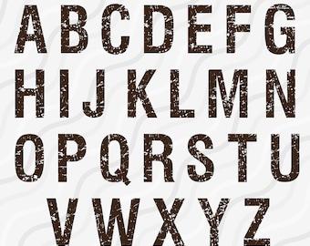 Distressed Alphabet SVG, Grunge Alphabet, Alphabet Svg, Vintage Font, SVG Fonts, Cricut Fonts Cut table Design,svg,dxf,png Instant Download