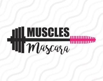 Muscles and Mascara SVG, Workout SVG, Fitness svg, Gym SVG Cut table Design,svg,dxf,png Use With Silhouette Studio & Cricut_Instant Download